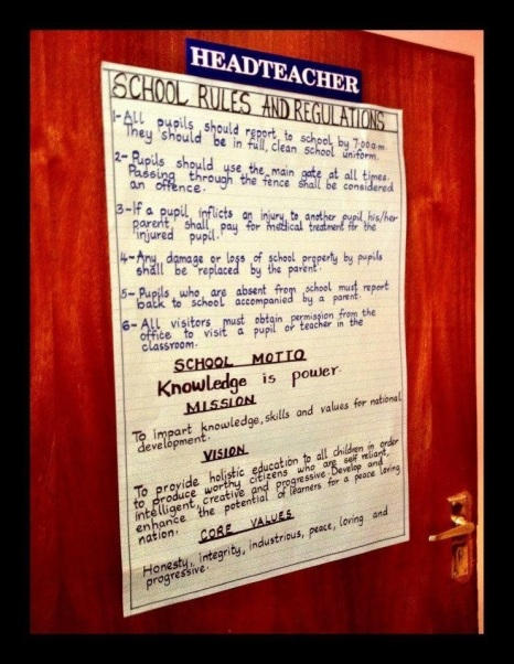 The Head Teacher's Door